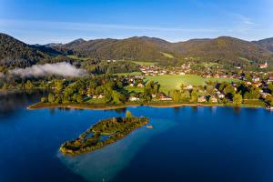 Картинка Германия Здания Реки Остров Лес Бавария Холмы Berge
