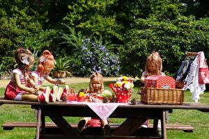 Обои Германия Парки Букеты Куклы Девочки Корзины Grugapark Essen Природа