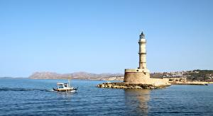 Картинки Греция Море Маяки Катера Crete, Chania