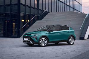 Картинки Hyundai Кроссовер Зеленые Металлик Bayon, (Worldwide), 2021 автомобиль