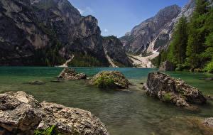 Обои Италия Горы Озеро Камень Мха Lake Prags South Tyrol