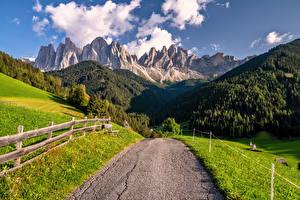 Фото Италия Горы Дороги Альпы Dolomites, South Tyrol Природа