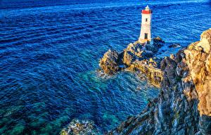 Фотографии Италия Море Маяки Утес HDR Sardinia