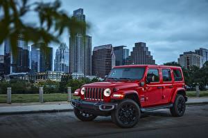 Обои Джип SUV Красный Металлик 2021 Wrangler Unlimited Sahara 4xe машины