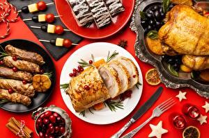 Фото Нож Накрытия стола Курица запеченная Тарелка Вилки Продукты питания