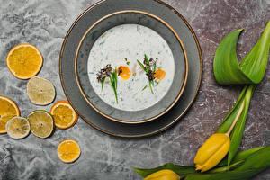 Фото Лимоны Тюльпаны Супы Тарелка Еда Цветы