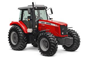 Обои для рабочего стола Тракторы Красные Белый фон Massey Ferguson 7180 Cab, 2009 --