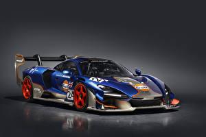 Обои McLaren Тюнинг Серый фон 2020-21 Senna GTR LM 825-2 Gulf car Автомобили картинки