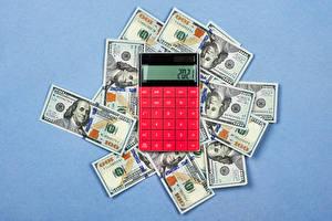 Обои Деньги Купюры Доллары Цветной фон calculator Цветы картинки