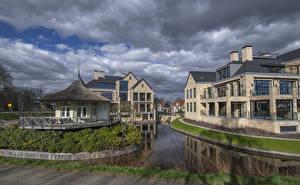 Картинка Голландия Дома Водный канал Забора Vreeland Города