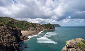 Обои для рабочего стола Новая Зеландия Побережье Скала Облако Whites Beach Природа