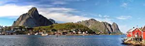 Обои Норвегия Лофотенские острова Горы Дома Панорама Hamnøy