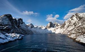 Фотографии Норвегия Горы Скалы Фьорд Djupfjorden