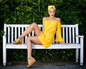 Картинка Скамья Сидит Платье Ног Смотрит Olga Maria Veide молодые женщины