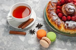 Фотографии Пирог Выпечка Печенье Чай Корица Макарон Чашка Еда