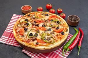 Фото Пицца Перец чёрный Острый перец чили Помидоры Пища