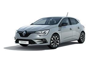 Картинки Renault Серые Металлик Белом фоне Megane 'Limited', (FR-spec), 2021 автомобиль