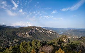 Обои Испания Горы Пейзаж Небо Catalonia