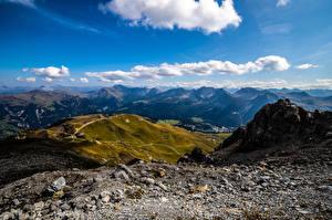 Обои Швейцария Гора Камни Облака Альпы Arosa Природа