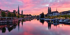 Картинка Швейцария Цюрих Речка Здания Мост Речные суда Вечер Города