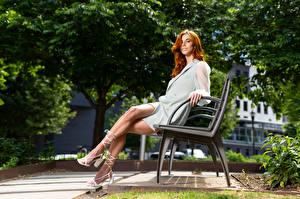 Фотография Taylor Freeze Скамейка Сидит Ноги Платья Рыжие Взгляд молодые женщины