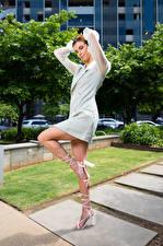 Картинка Taylor Freeze Позирует Платье Ноги Рыжая