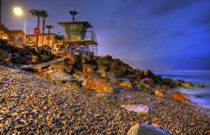 Обои Штаты Вечер Берег Камень Калифорнии Уличные фонари Пальмы HDRI Oceanside Природа