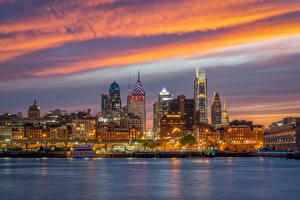 Фотография Америка Дома Речка Вечер Причалы Philadelphia Города