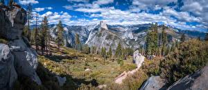 Картинки Штаты Гора Парк Панорама Пейзаж Небо Йосемити Скала Дерево Калифорния Glacier Point