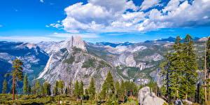 Фотография США Парк Горы Пейзаж Йосемити Калифорния Облака Скала Деревья Glacier Point Природа