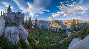 Картинки Америка Парк Гора Пейзаж Йосемити Скале Дерева Калифорния Glacier Point Природа