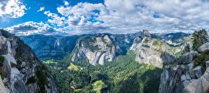 Фотографии США Парки Горы Пейзаж Панорама Скала Облака Йосемити Калифорния Glacier Point Природа