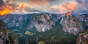 Обои Штаты Парк Горы Пейзаж Панорама Йосемити Скалы Облака Калифорнии Glacier Point Природа