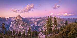 Обои для рабочего стола Америка Парки Горы Пейзаж Панорама Йосемити Скалы Деревья Калифорния Glacier Point Природа