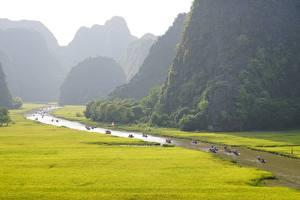 Фотографии Вьетнам Горы Реки Лодки Tam Kok National Park, Ninh Binh