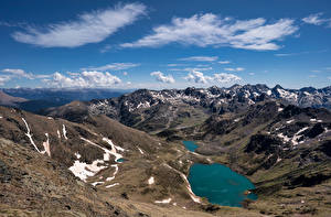 Фото Андорра Горы Озеро Облака Tristaina lake
