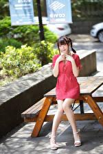 Картинка Азиатки Платья Смотрит Ног Коса молодая женщина