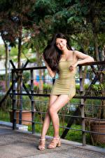 Фото Азиатка Позирует Платье Ноги Смотрит Брюнетки Девушки