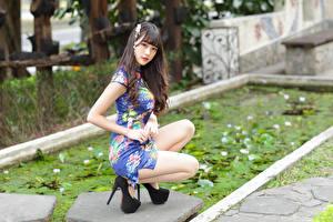 Картинки Азиаты Позирует Сидящие Платья Взгляд молодая женщина