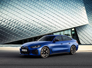 Обои BMW Синяя 2021 i4 M50 Worldwide Автомобили