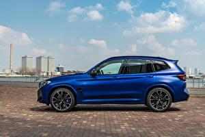 Фотографии BMW Кроссовер Синяя Металлик Сбоку X3 M Competition, (Worldwide), (F97), 2021 машина