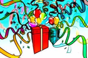 Обои для рабочего стола День рождения Подарки Шар Ленточка