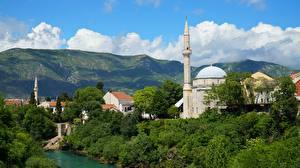 Картинка Босния и Герцеговина Мечеть Реки Башни Mostar, Neretva River