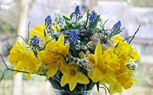 Фото Букеты Нарциссы Лютик Люпин цветок