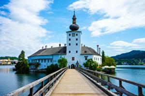 Картинки Мосты Австрия Гостиница Башня Land Lower Austria, Baden, Schlosshotel