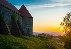 Фото Замок Рассветы и закаты Трава Тропа Ahorn im Mulviertel, Piberstein Castle Природа