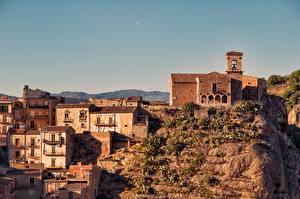 Картинка Церковь Здания Италия Сицилия Скалы