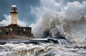 Картинка Англия Побережье Маяки Волны Seaton Carew Природа