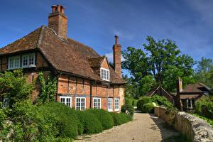 Картинки Англия Здания Ограда Кусты Waterstock Mill, Oxfordshire Города