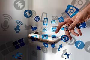 Обои Пальцы Смартфон Руки social network